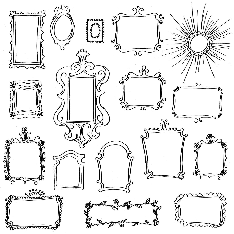Doodle Frames Clip Art Pack // Set of 17 Unique Hand-Drawn | Etsy