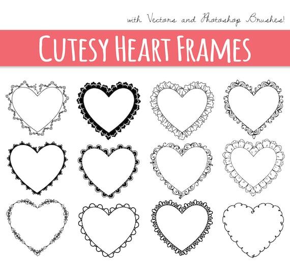 CLIP ART: Heart Frames // Digital Frame // Decorative Border | Etsy
