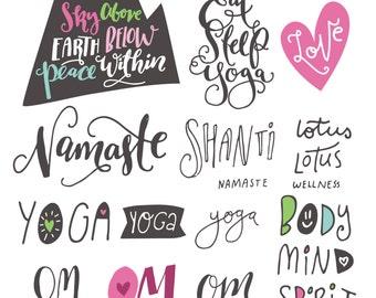Yoga Phrases & Lotus Flowers // Zen Clipart Teacher Body Mind Spirit SVG Vector Files // tshirt t-shirt tee design // Commercial Use