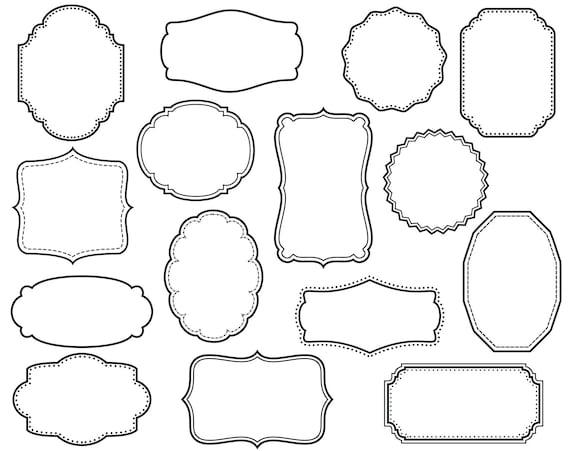 15 Digital Scrapbook Frames // Clipart Clip Art // Decorative   Etsy