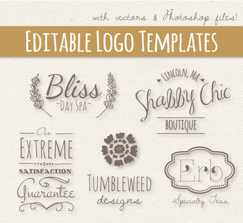 Editable Logo plantillas de conjunto de 2 / / completamente en