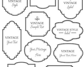 CLIP ART: Vintage Labels // Digital Frame // Vector eps Editable // DIY Cards Invitation // Printable // Instant Download // Black White