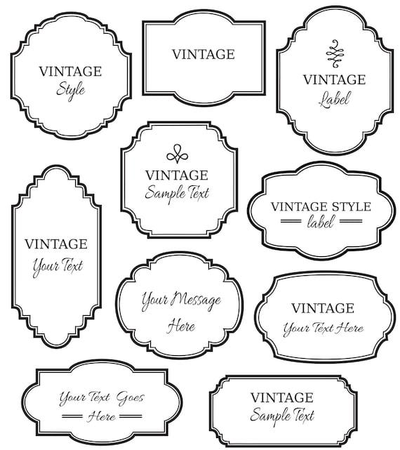 Vintage Labels Clip Art // Digital Frames PNG Vector // | Etsy