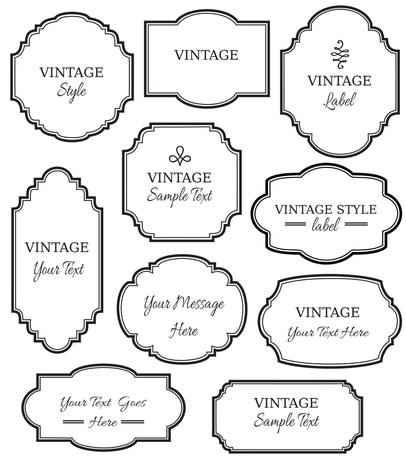 vintage labels clip art // digital frames png vector // | etsy