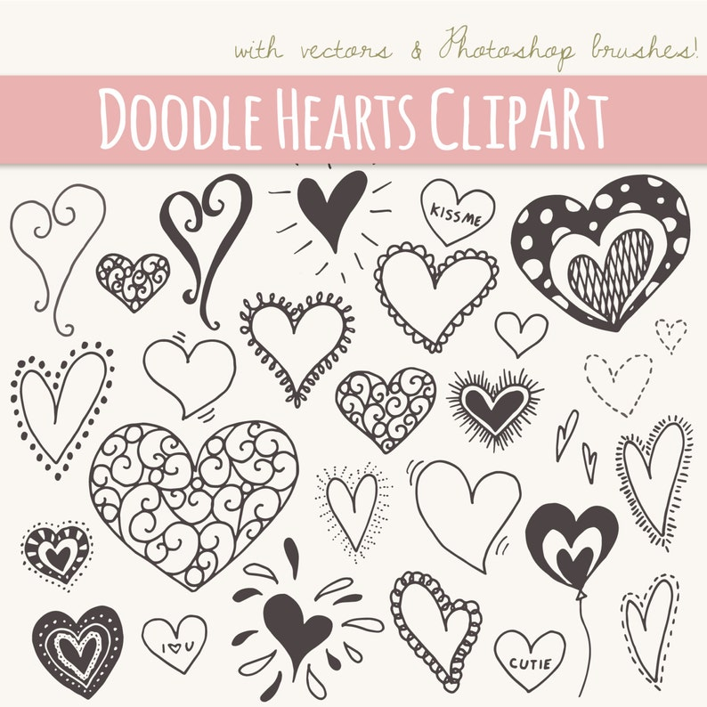 28 Doodle Hearts Clip Art  Digital Graphics Download  Valentines Day Love Heart Kiss  Photoshop Brushes PNG File Vector  Commercial