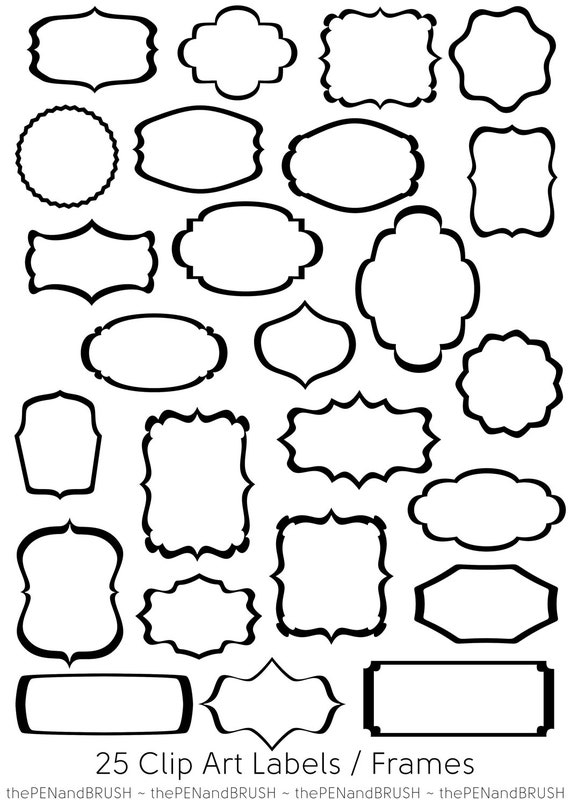 25 Label Frames Clip Art // PNG Files Transparent Middles // | Etsy