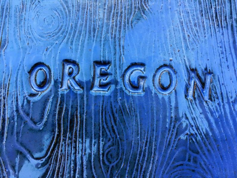 Oregon Blue Green Stoneware Shaped Plate with Portland Green Heart