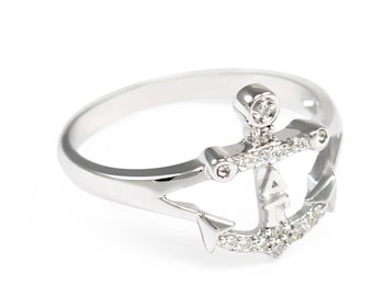 Delta Gamma Sterling Silver Anchor Ring with Simulated Diamonds // Delta Gamma Sorority Jewelry // Initiation Gifts // Delta Gamma Anchor
