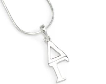 delta gamma sterling silver lavaliere sorority jewelry sorority gifts lavaliere greek letters greek life gifts for her