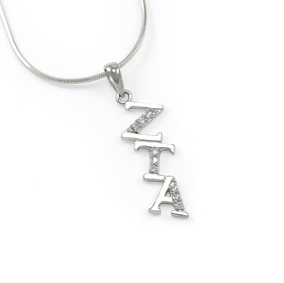 The Collegiate Standard Alpha Phi Sterling Silver Diagonal Lavaliere Set with Czs