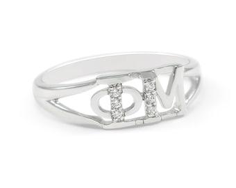 Phi Mu Sterling Silver Ring set with simulated Diamonds // Phi Mu Sorority Jewelry // Sorority Gifts // Sorority Jewelry // Greek Life //