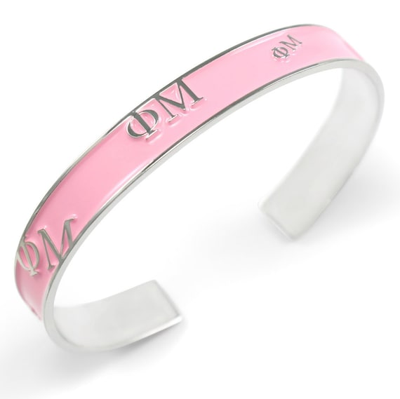 Gamma Phi Beta Bangle with raised letters and PINK enamel NEW!