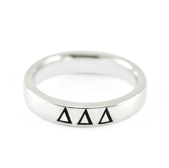 Delta Delta Delta sterling silver ring with enamel CUTE /& NEW!