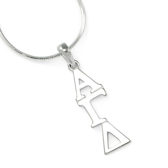 The Collegiate Standard Alpha Gamma Delta Sterling Silver Lavaliere with Czs