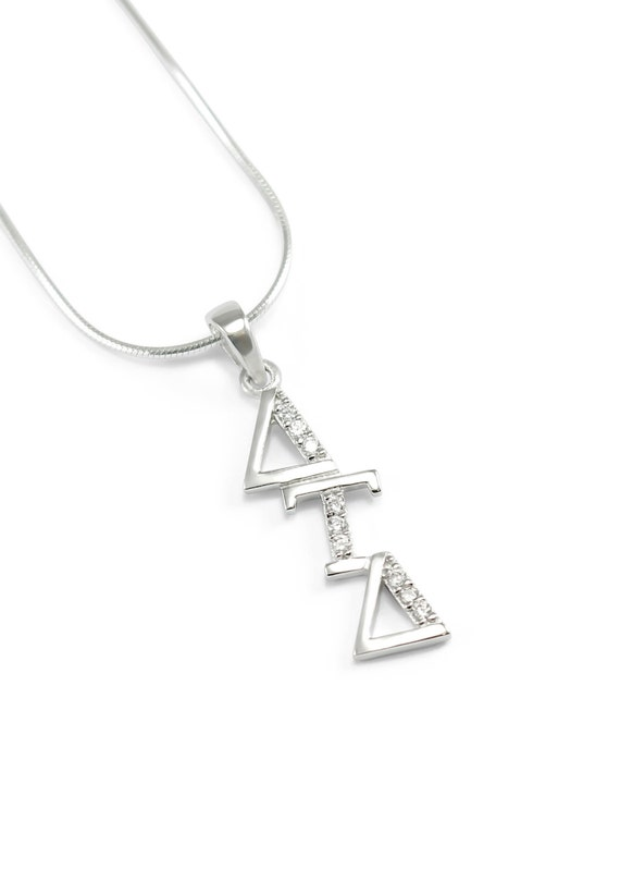 Delta Tau Delta Sterling Silver Diagonal Lavaliere Set With Etsy