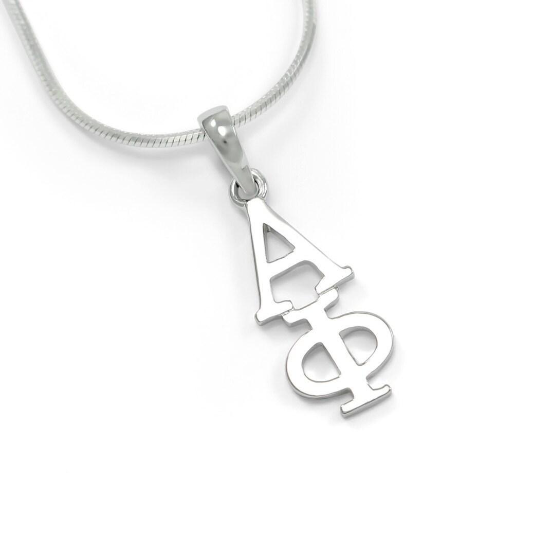 Alpha Phi Sterling Silver Lavaliere  \u0391\u03a6 Sorority Jewelry  Sorority Gifts  Big /& Little Gifts  Sorority Lavalier  Greek Accessories