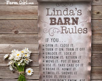 Barn Rules Sign, Personalized Farm Sign, Old Paper Sign, Rustic Sign