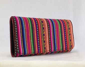 FUCHSIA Manta Inca colorful woven Peruvian textile handcrafted checkbooks style wallet