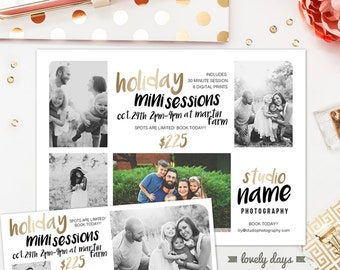 Holiday Christmas Mini Session Template PLUS Facebook Timeline For Photographers INSTANT DOWNLOAD