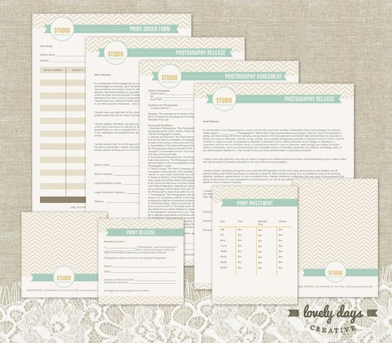 Photography business forms templates contracts instant etsy image 0 fbccfo Images