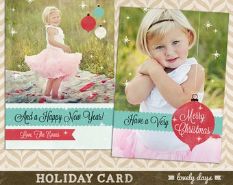 Holiday  Card Template for Photographers Christmas Card  INSTANT DOWNLOAD