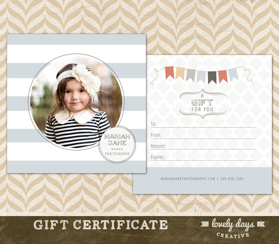Photography Gift Certificate Template For Photographers Etsy