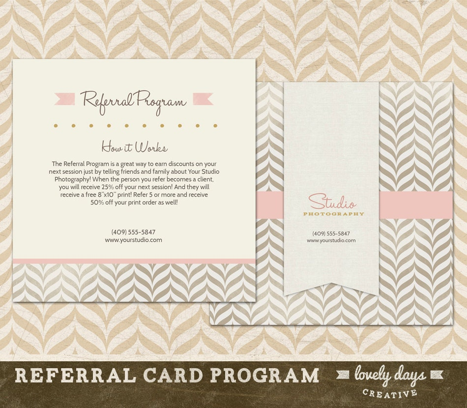 Photography Referral Card Template Reference Card For Etsy