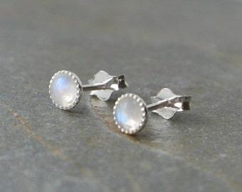 Sterling Silver Moonstone Stud Earrings, 4mm Sterling Silver Gemstone Studs,  Tiny Gemstone Stud Earrings, Gift For Her
