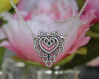 Bohemian Heart Choker, Heart Choker, Silver Choker Necklace, Silver Choker, Choker, Boho Necklace, Heart Necklace,