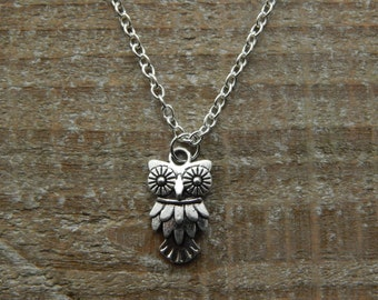 Silver Owl Necklace, Owl Charm Necklace, Silver Owl Pendant, Charm Pendant, Owl Jewellery, Silver Necklace