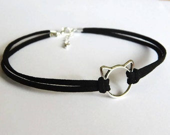 Cat Choker, Black Cats Whiskers Faux Suede Choker, Black Choker, Choker Necklace, Double Faux Suede Choker, Black Cat Choker. Kitty Choker