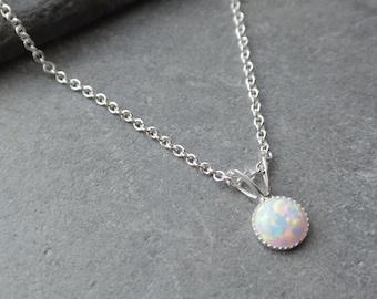 Opal Necklace, Sterling Silver Pendant, Synthetic Opal Pendant, Dainty Pendant, Sterling Silver Necklace, Tiny Opal Necklace