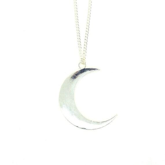 Large silver crescent moon necklace moon pendant half moon etsy image 0 aloadofball Images