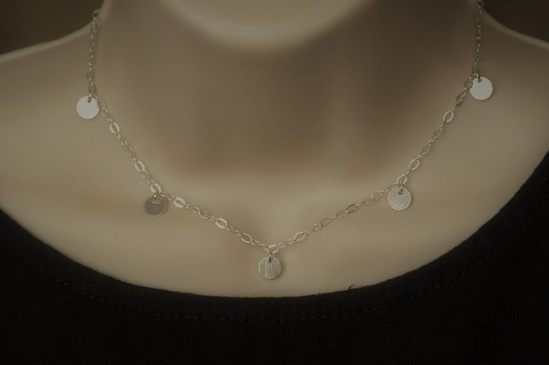 Coin Choker Necklace Sterling Silver Disc Charm Necklace Layering Necklace