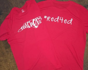 North Carolina Red4Ed T-Shirt - Red4EdNC - Red For Ed