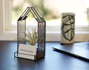 Desktop business card holder etsy stained glass business card holder stained glass terrarium air plant holder handmade office gift unique business gift black finish reheart Choice Image