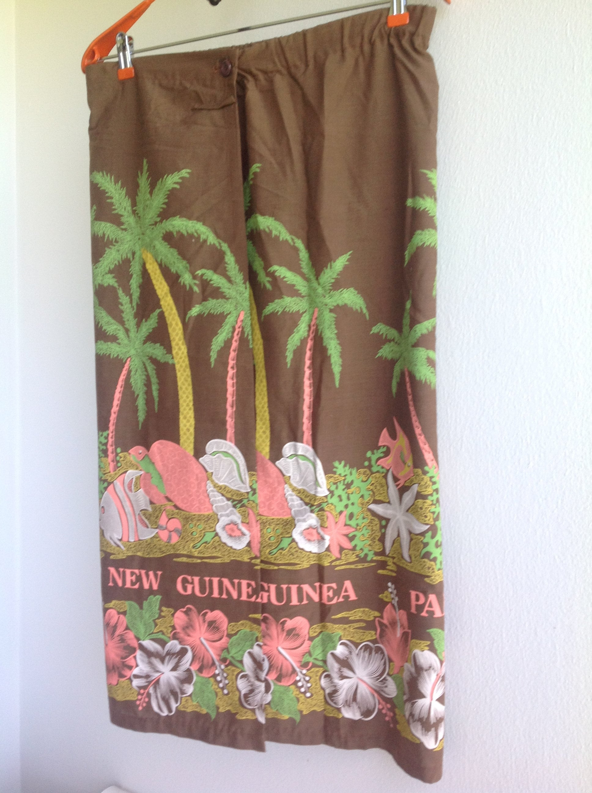 Long wrap skirt or swim suit cover up. Beach. Summer. Papua New Guinea print. Free Priority shipping in the US.