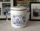 Vintage Enamel Coffee Percolator Blue and White Blue Onion Delft Stovetop Coffee Pot
