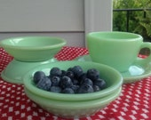 Set of 4 Fire King Restaurant Ware Jadeite Berry Bowls G294 1940 39 s,1950s Green Milk Glass Oven Ware Retro Diner Bowls