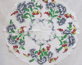 Awesome Vintage Round Hankie Blue Grey Carnations Red and Yellow Blossoms and Grey Ribbon Bows