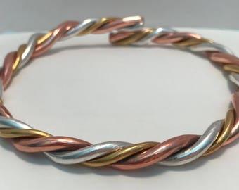 Full 1 Oz Each Equal Weight Three Metal 24 kt Fine Gold, Fine Silver & Copper Astrological Yoga Bangle Bracelet (Approx. 3.25 Troy Oz Total)