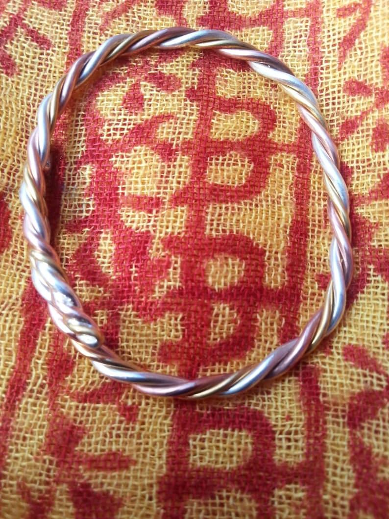 3 Metal Astrological Yoga Bangle Bracelet 24 kt Gold Fine image 0