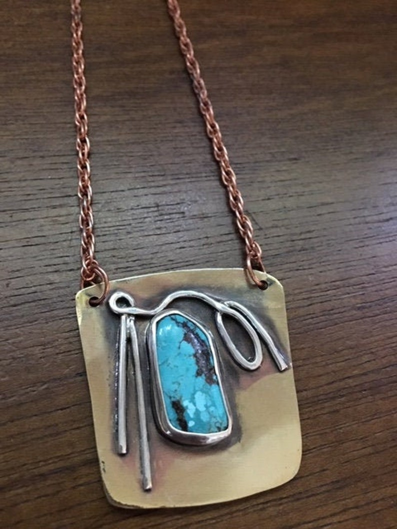 Turquoise Abstract Pendant in Brass and Sterling Silver with image 0