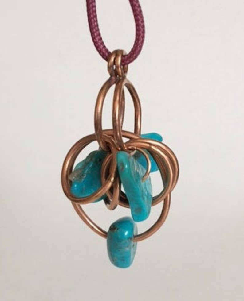 Copper and Turquoise Modernist Pendant image 0