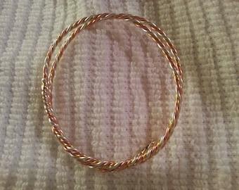 3 Metal Astrological Yoga Bangle Bracelet 24 kt Gold Fine Silver Copper Vata