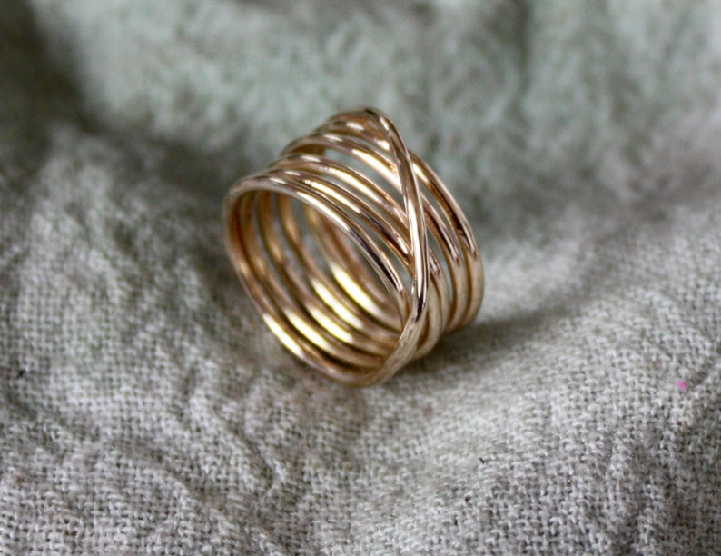 14 kt Gold or Sterling Silver or Copper Wrap Ring image 0