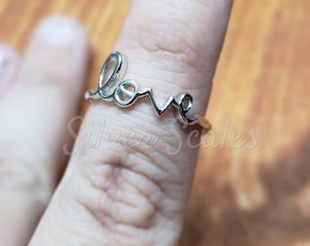 Love Ring  - Hypoallergenic - Sterling Silver - Script Ring