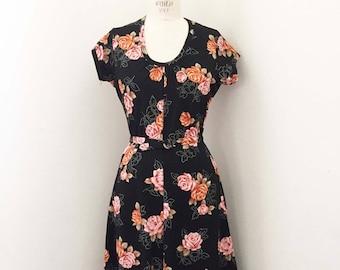 ON SALE Vintage 70s Black Floral Knit Dress