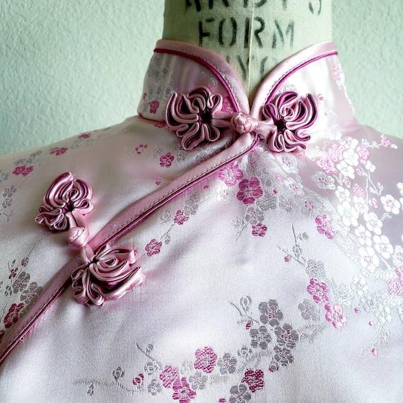 Vintage Pink Cheongsam Qipao Mandarin Dress - image 5