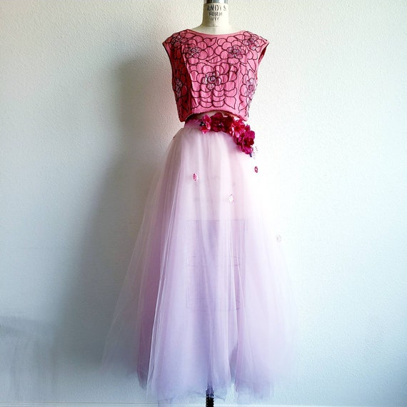 Vintage 50s/60s Pink Beaded Cropped Bodice
